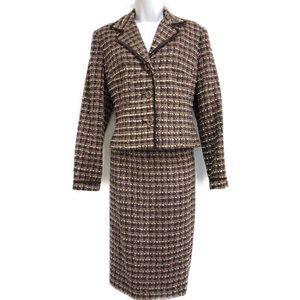 Larry Levine Brown skirt suit size 8